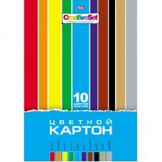 Картон цветной А4 10 цветов (10 листов)